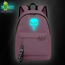 Punisher kobiet torby Mochila Escolar Feminina Plecak Szkolny Plecak Szkolny dziewczyny plecaki panie książka torby torba na laptopa torba na co dzień 1