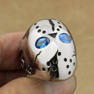 Image 5 - LINSION 316L Stainless Steel Halloween Jason Mask Hockey Blue CZ Eyes Mens Biker Rocker Punk Ring Cubic Zirconia Ring 3F101
