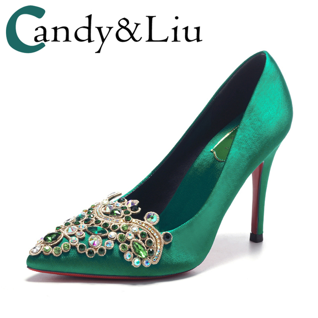 e4443ff9f83 US $59.86 27% OFF|Shoes Women 2018 New Spring Green High Heels Satin Silk  Turquoise Pointed Toe Crystal Embroidered Bridal Shoes Ladies Pumps-in ...