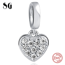 Love Heart with Zirconia Fit Authentic pandora Charm Bracelet Sterling Silver 925 Original Beads For Women Jewelry for women authentic 925 sterling silver bead charm snake chain fit original pans bracelet with glue heart clasp for women diy jewelry