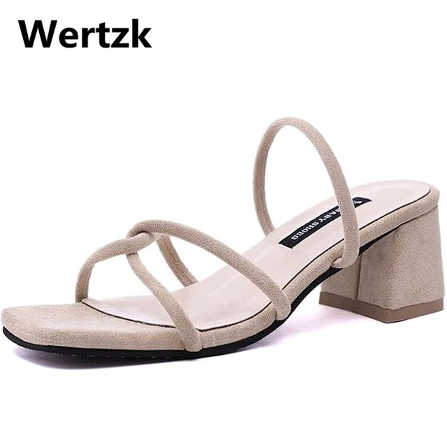 Wertzk Woman Sandals Shoes Slippers Chunky-Heels Open-Toe Summer-Style Fashion E036