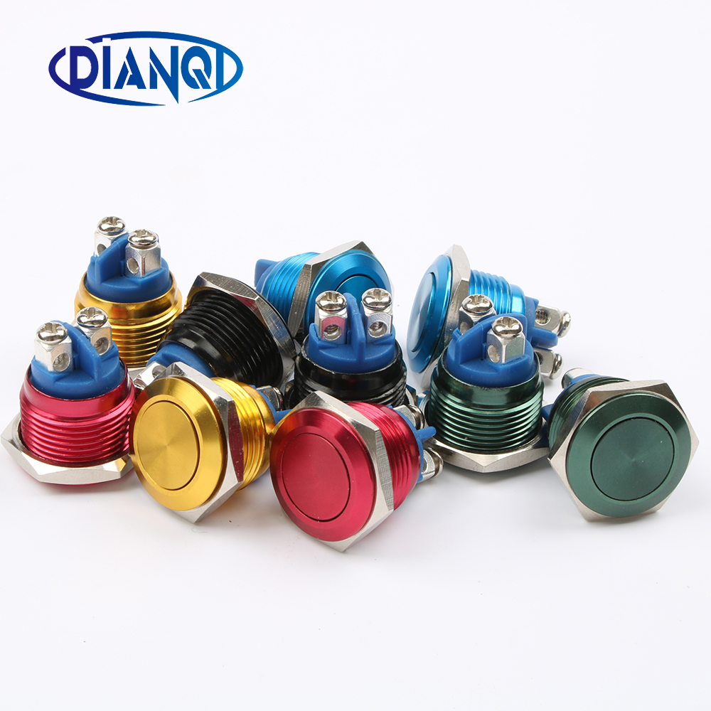 16mm momentary Push Button Switch Flat head round shaped 1NO domed waterproof Alumina press self-reset 16QYPY.F.L 16mm momentary push button switch press the reset switch momentary on off push button micro switch normally open no reset