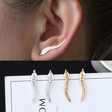 New Fashion Creative Leaves Earrings Simple Gold Silver Feather Charm Ladies Personality Plant Brincos