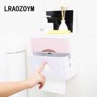 LRAOZOYM Multi function Bathroom Toilet Paper Traceless Double Waterproof Storage Rack Place Mobile Phone Holder LR046
