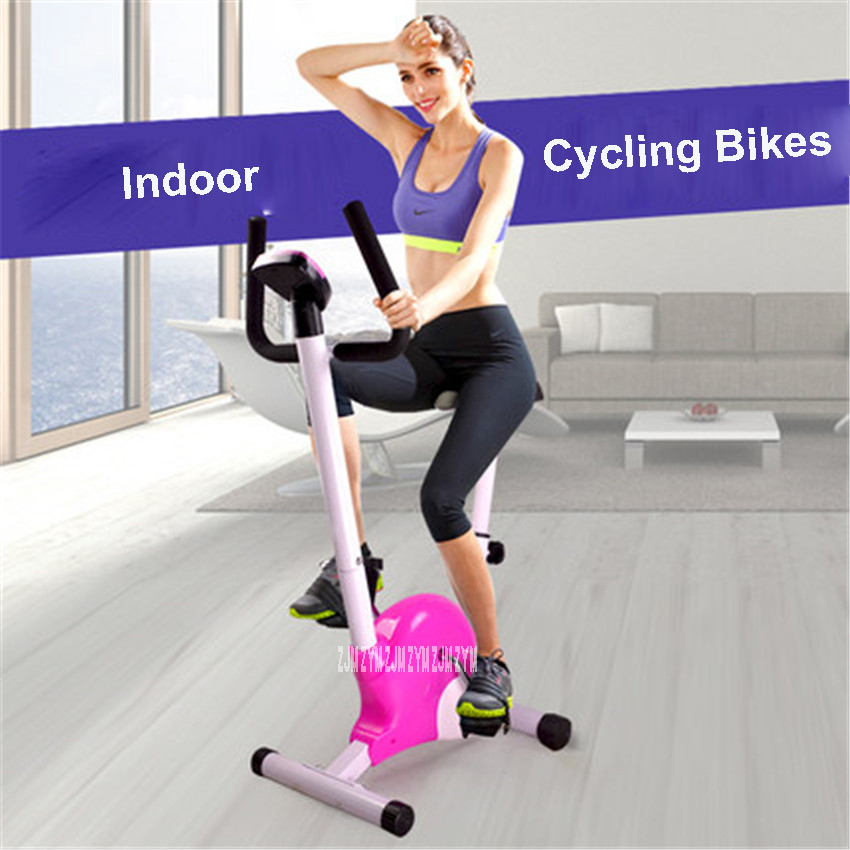Indoor foldable upright low noise spinning/indoor cycling bike adjustment LCD adjustable cushion JD-001 Indoor Cycling Bike pink bike sweatband indoor bike home cycling sweatband bicycle bike indoor band for sweat indoor cycling