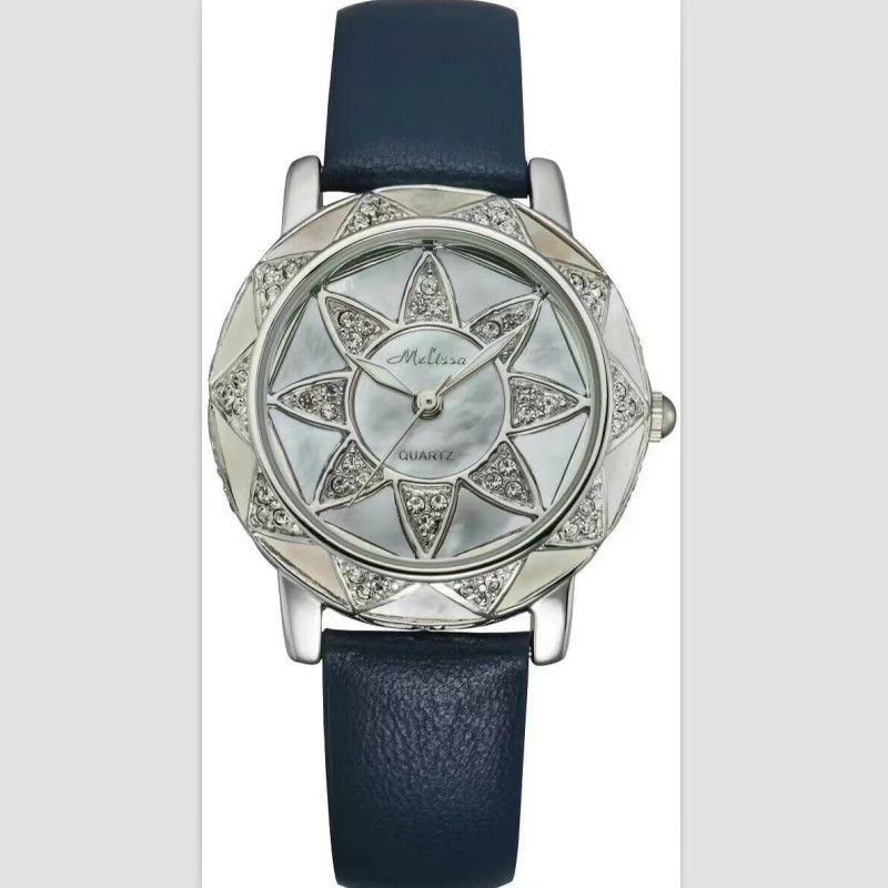 купить Melissa Brand New Women Sunflower Watches Luxury Crystals Dress Wrist watch Real Leather Quartz Watch Natural Shell Montre Femme по цене 4935.94 рублей