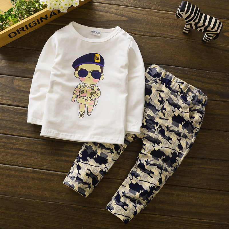 New Boys Clothing Sets Summer Baby Children Cotton Long sleeves T-shirt and Camouflage Pants suits Kids Clothes Sets Costume year cotton long sleeves baby kids children suits boys pajamas christmas girls clothing sets clothes