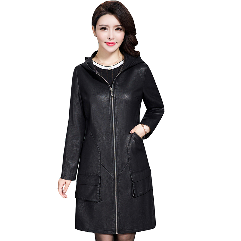 Long Leather Womens Jacket Coats 2017 new female Hooded Warm Winter Slim Outwear Lamb Leather Zipper Plus Size leathe QH0861