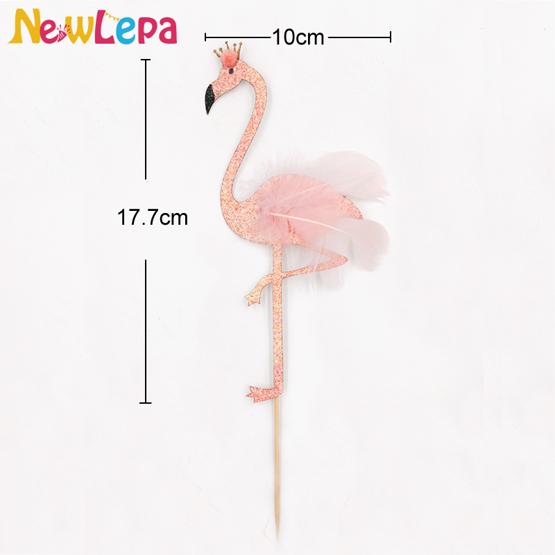 high glitter feather flamingo cake topper tropical hawaiian party decoration-XDU