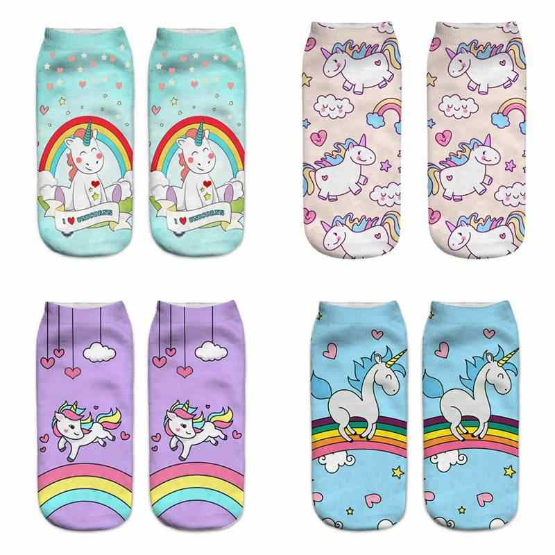 Harajuku Cute Unicorn Socks Women Funny 3D Print Socks For Pregnant Maternity Sokken Winter Autumn Spring