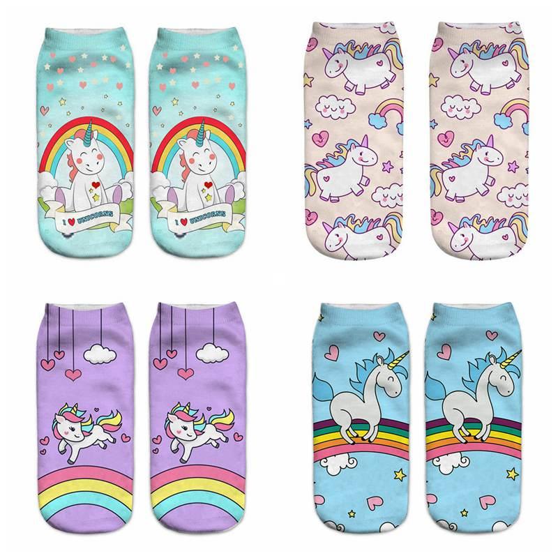 Harajuku calcetines bonitos de unicornio para mujer divertidos Calcetines estampados en 3D para maternidad embarazada Sokken invierno otoño primavera