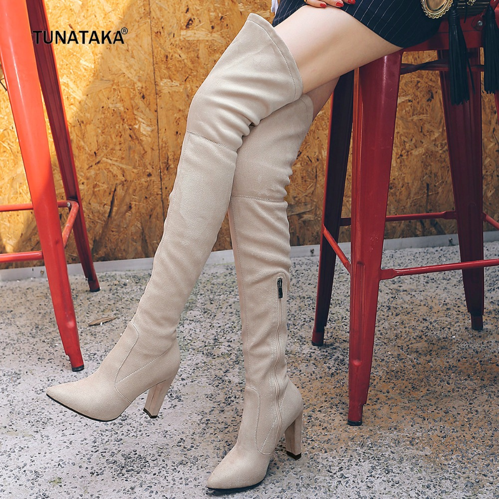 Thigh High Boots for Women Faux Suede Winter Stretch Over the Knee Boots Zip High Heel Pointed Toe Shoes Woman Black Beige black stretch fabric suede over the knee open toe knit boots cut out heel thigh high boots in beige knit elastic sock long boots