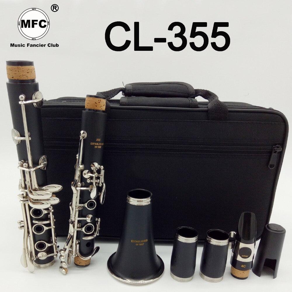Musique amateur Club étudiant clarinettes Bb CL-355 mat ABS résine bakélite clarinette embout 4C inclus étui + anches