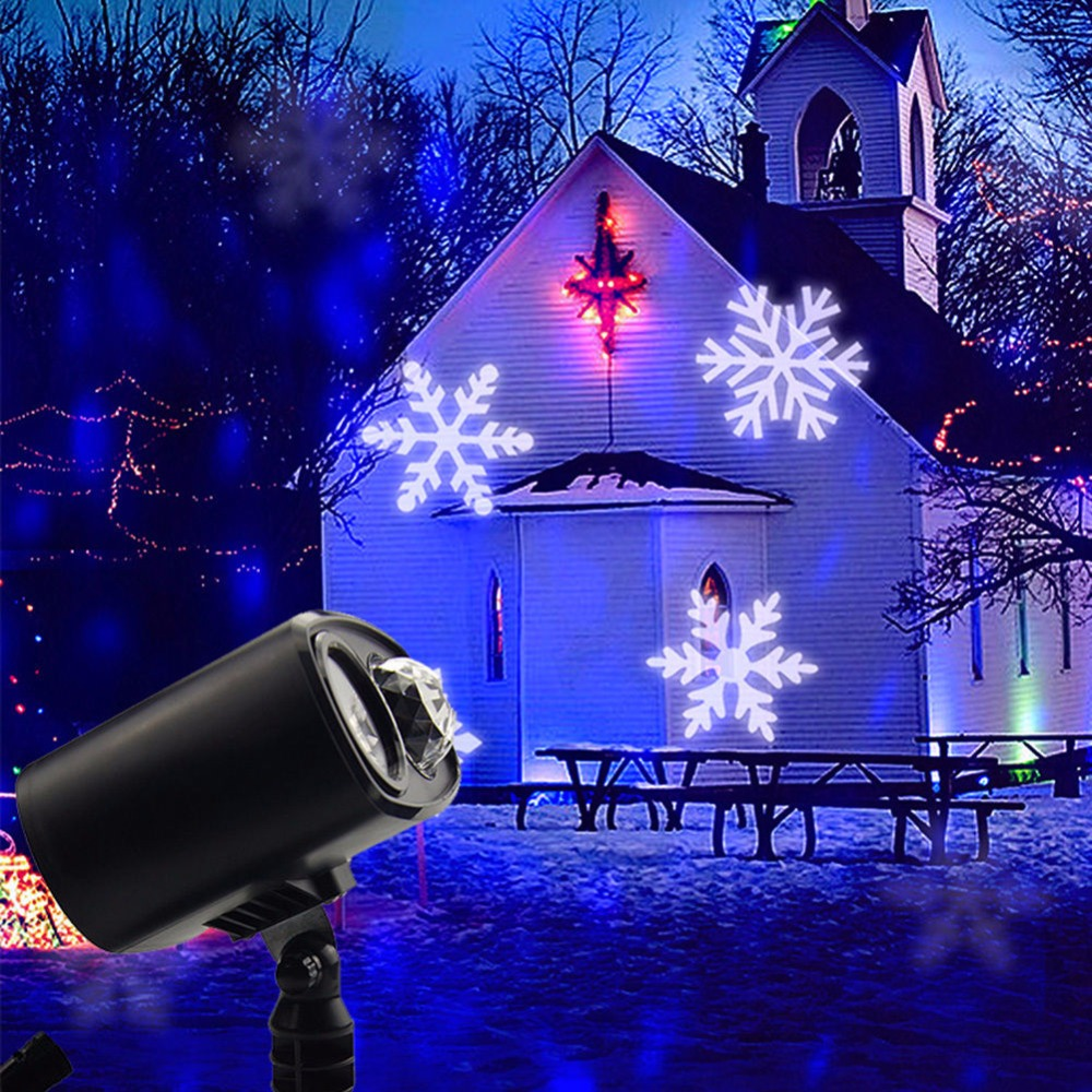 Laser Snowflake Projector LED Stage Lights Waterproof Garland Christmas Lamp for Halloween New Year Laser Easter Decoration