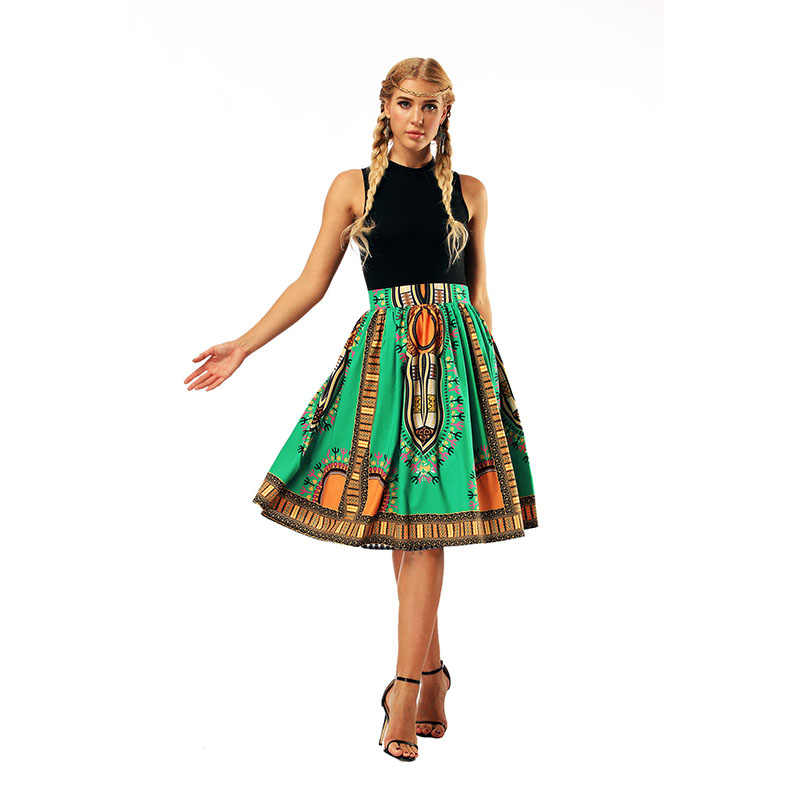 1b77ed465d ... Fashion Boho African Dashiki Wax Print Flare Skirt Women Midi Elastic  Waist Band Gathered Skirt Hippie ...