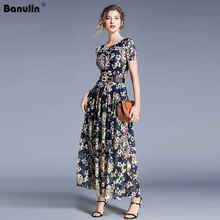 Banulin Fashion Runway Maxi Dresses 2019 Summer Womens Long Sleeve Lace Embroidery Vintage Blue Dress Elegant Party