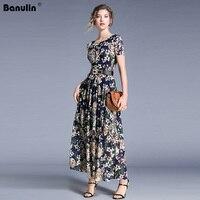 Banulin Fashion Runway Maxi Dresses 2019 Summer Women's Long Sleeve Lace Embroidery Vintage Blue Dress Elegant Party Dress
