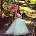 2016 Romantic Ivory Off The Shoulder Lace Bodice Tulle Ball Gown Princess Wedding Dress