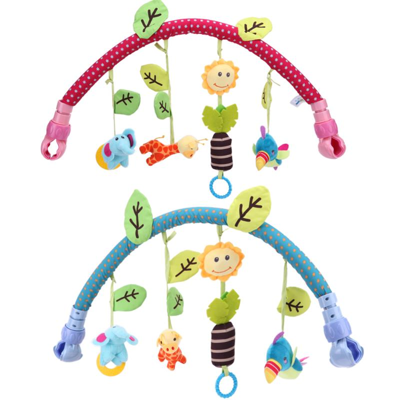 Multifunctional Arch Baby Stroller Car Bed Clip Hanging Seat Rattle Toy Bell Animal Plush Music Toy