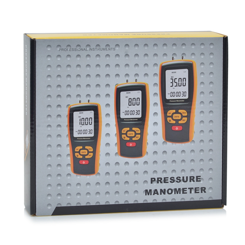 LCD Manometer Pressure Gauge Max 150KPa Digital Manometro Air Pressure Meter Measuring Range 35kPa USB Interface portable digital lcd display pressure manometer gm510 50kpa pressure differential manometer pressure gauge