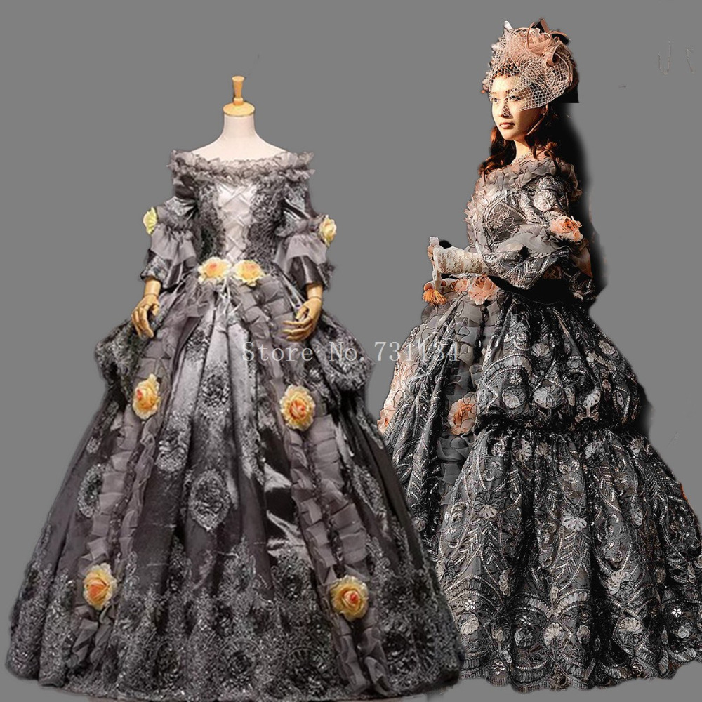 1e61f66e2a4790 High end Vintage Grey 18th Eeuw Rococo Barokke Marie Antoinette Renaissance  Baljurken Historische Periode Carnaval Jurk in High-end Vintage Grey 18th  Eeuw ...