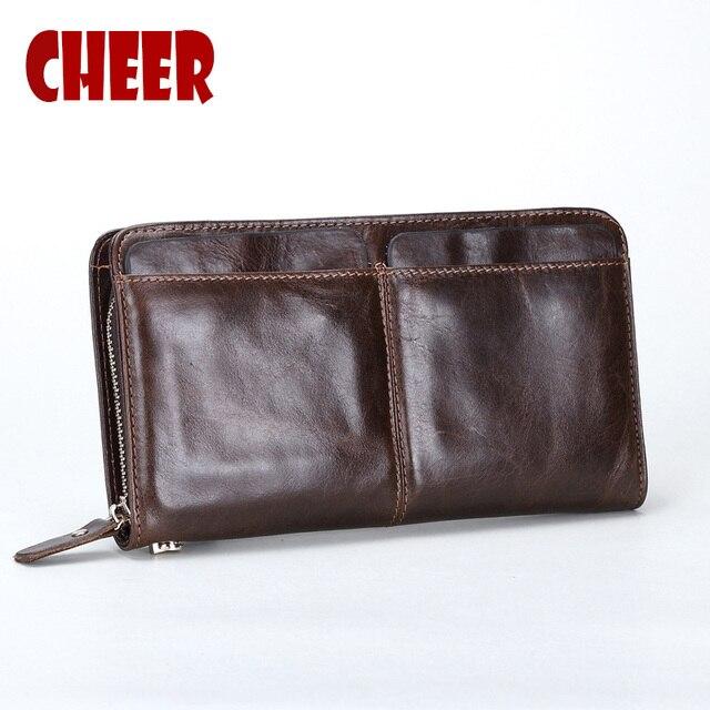 Cremallera carpeta de los hombres billetera paquete M bolsa de hombre de Cuero Genuino bolso de Cuero hombre hombres bolsa de monedas monedero de diseño de Negocios carteras