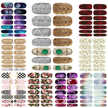 10pcs Lot New Water Transfer Nail Foil Nail Art Sexy Flirtatious Purple Shine Flowers Wraps Nail Sticker Manicure Decals