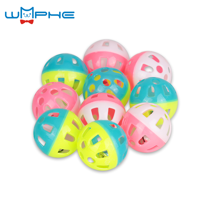 10pcs/lot Plastic Pet Kitten Cat Toys With Small Jingle Bell Diameter 4cm Lightweight Pounce Chase Rattle Ball Toy For Cat 4cm ...