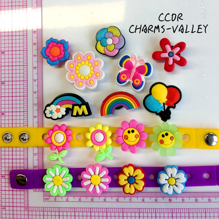CCOR 30PCS PVC Cute Flowers and balloons Shoe Charms Fit Kids Cross Shoes, Cross Bracelets, Shoe Accessories, Children gift