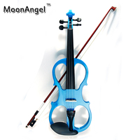 4/4 Electric Violin Fiddle Stringed Instrument Ebony Fittings Cable Headphone Case for Music Lovers Beginners Blue Violin