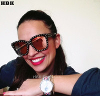 HBK 2017 Rose Gold Rivet Sunglasses Black Gold Silver Women Aviation Eyewear Brand Designer Sun Glasses