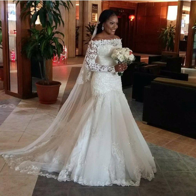 6e3916727df9 African 2017 Mermaid Wedding Dresses Long Sleeve Off Shoulder Lace  Appliques Beads Bridal Gowns Court Train Robe de mariage