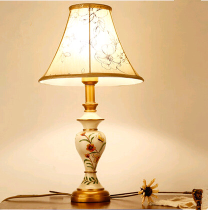 lamp drawing. new chinese style festive hand-drawing flower bird pattern art table lamps rural resin e27 lamp drawing