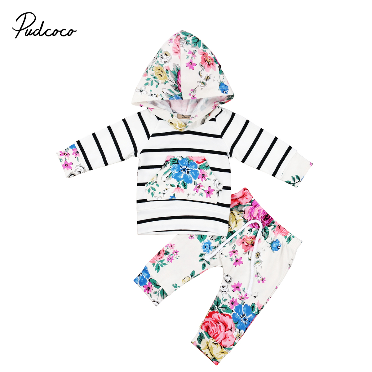 2pcs Newborn Infant Baby Girls Clothes Hooded Long Sleeve Autumn T-shirt Tops+Pants Outfits Set