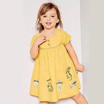 Little maven 2019 nouveau été bébé filles vêtements marque robe enfants coton rayé imprimé animaux à manches courtes robes florales