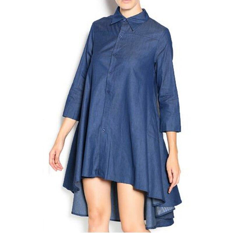 Мода нагрудные Средства ухода за кожей Шеи синего джинсового цвета мини-платье нагрудные Средства ухода за кожей шеи три четверти рукав кно...