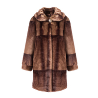 Newest Elderly Mother Full Sleeve Coffee Red Color Faux Mink Fur Coat Slim Full Pelt Thick