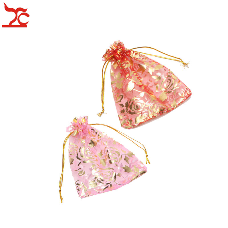 Fashion Pink Red Rose Organza Jewelry Wedding Gift Pouch 10Pcs/Lot Draw String Candy Birthday Party New Year Holiday Gift Bag