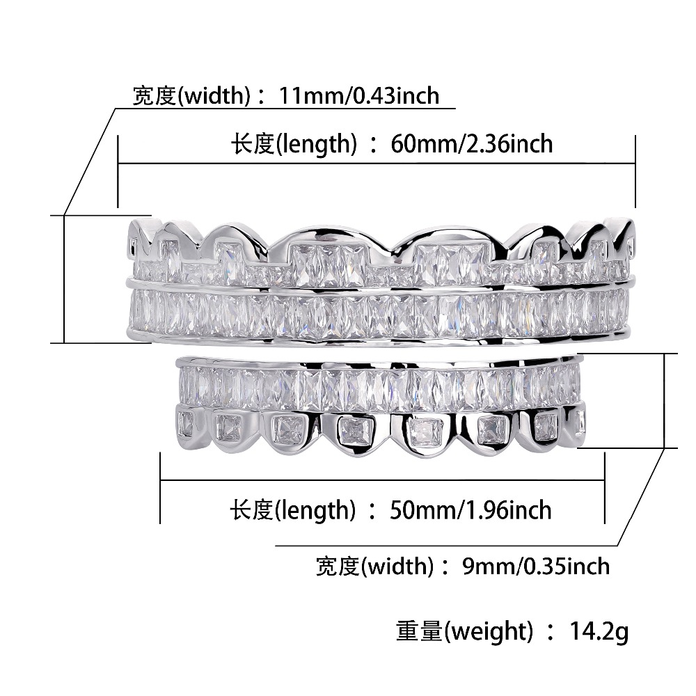 Image 5 - New Baguette Set Teeth Grillz Top & Bottom Silver Color Grills Dental Mouth Hip Hop Fashion Jewelry Rapper Jewelry GiftBody Jewelry   -