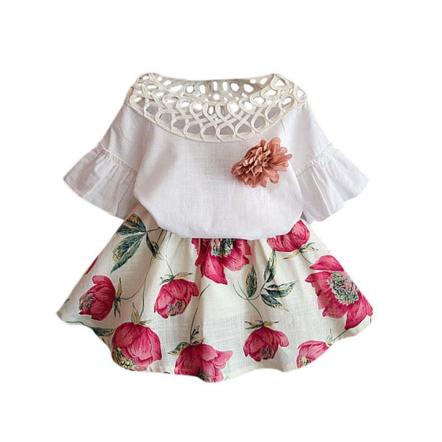 Telotuny Toddler Girls Summer Clothing Set Soft Girl Kids -7159