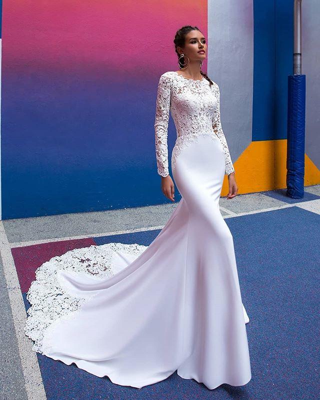 Satin Wedding Dress 2019: Mermaid Long Sleeve Wedding Dress 2019 Gorgeous Lace