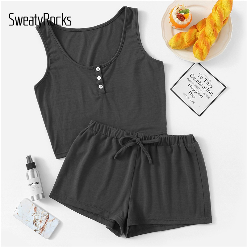 SweatyRocks Button Front Tank Top And Shorts PJ Sleeveless Solid Nightwear Women Casual Short   Sets   2019 Summer Women   Pajama     Sets