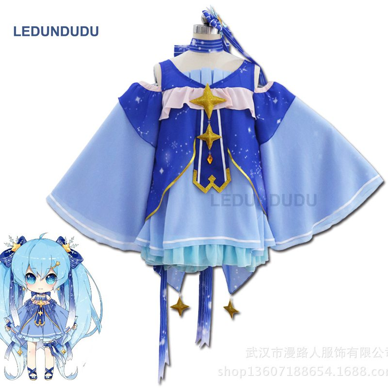 Здесь продается  8 in 1 Anime Vocaloid Snow Miku Hatsune Star Princess Chiffon Dress Cosplay Costumes Fancy Women Dresses Full set for Halloween  Одежда и аксессуары