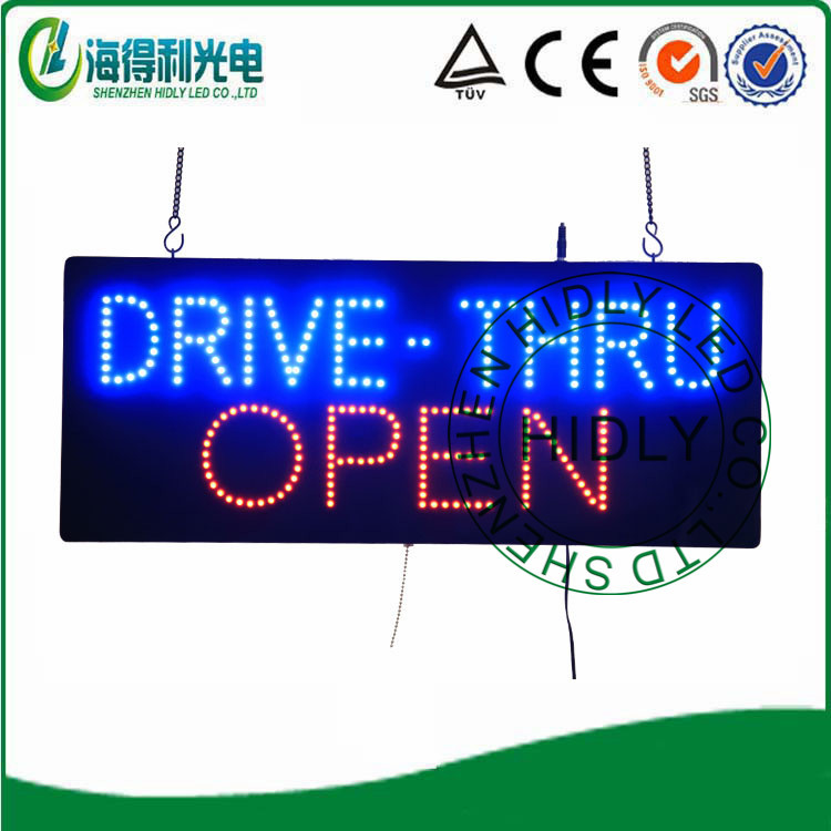 Low price high quality led open sign /Animaltional electronic open sign/DRIVE THRU OPEN SIGN