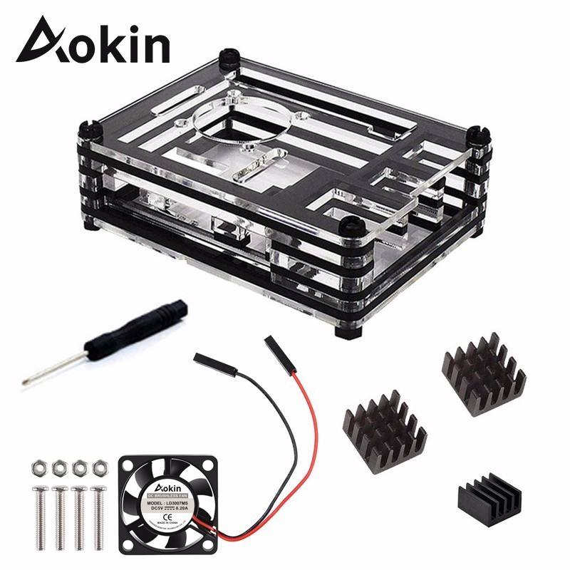 Aokin For Raspberry Pi 3 Case 9 Layer Acrylic Cover Shell Box With Cooling Fan And Heat Sink For Raspberry Pi 3 Model B Plus Hot