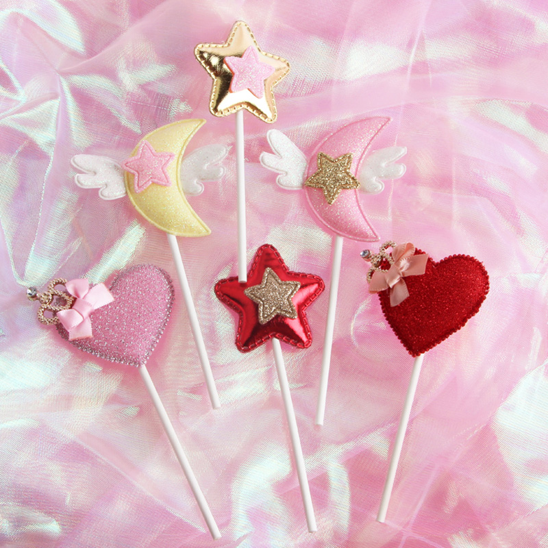 1 Pcs Sweet Star Moon Heart Cake Topper Birthday Cake Decoration Baby Shower Kids Birthday Party Wedding Favor Supplies