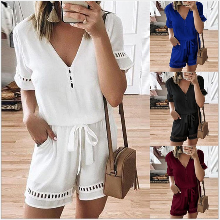 Jumpsuit Shorts White Black Blue Red Bandage Plus Size Xxxl Xxxxl Xxxxxl Romper Women Summer Overalls Combishort Femme Ete 2019