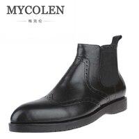 MYCOLEN новые зимние кожаные на молнии ботильоны модные мужские острый носок сапоги для верховой езды торжественное платье свадебные ботинки