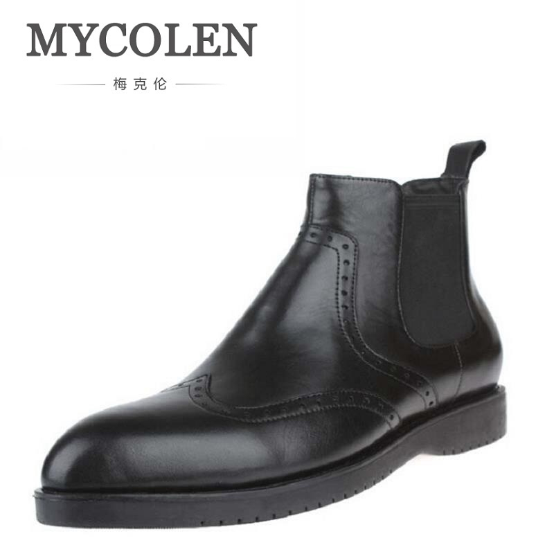 MYCOLEN New Winter Leather Zip Ankle Boots Fashion Mens Pointed Toe Riding Boots Formal Dress Wedding Chelsea Boots zapatosMYCOLEN New Winter Leather Zip Ankle Boots Fashion Mens Pointed Toe Riding Boots Formal Dress Wedding Chelsea Boots zapatos