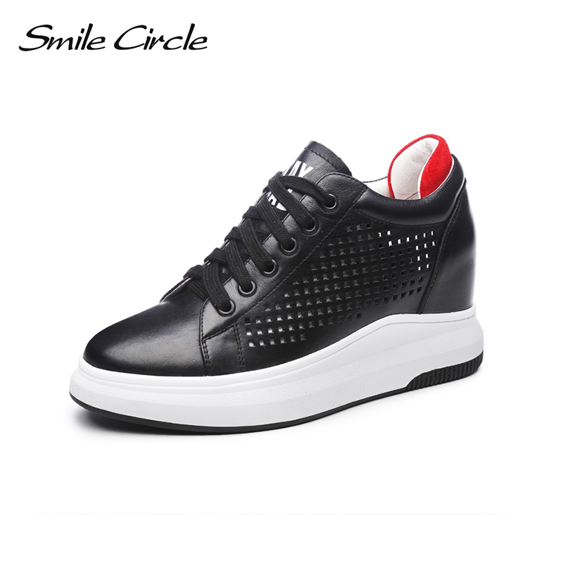 Smile Circle 2018 Spring summer Genuine Leather Sneakers Women shoes Fashion Flat Breathable Shoes Girl Casual woman Shoes gogc 2018 new floral denim slipony women breathable shallow shoes footwear flat shoes women fashion sneakers women summer spring